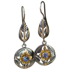 Emma Chapman Blue Sapphire Diamond 18 Karat Gold Statement Earrings