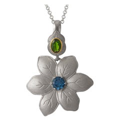 Emma Chapman Blue Topaz Chrome Diopside 18 Karat Gold Silver Flower Pendant