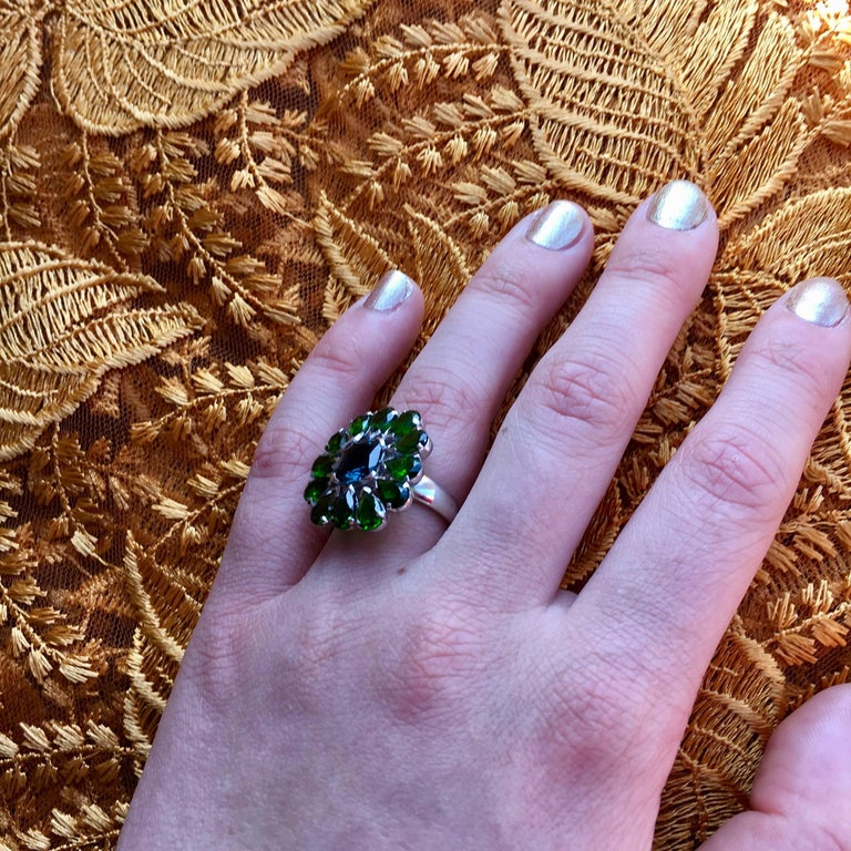 Emma Chapman Blue Topaz Chrome Diopside Cocktail Ring In As New Condition For Sale In Frome, GB
