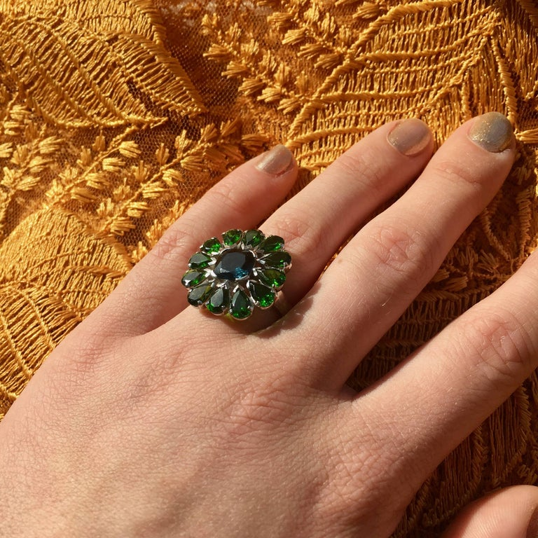 Women's or Men's Emma Chapman Blue Topaz Chrome Diopside Cocktail Ring For Sale