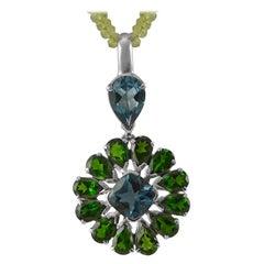 Emma Chapman Blue Topaz Chrome Diopside Sterling Silver Pendant