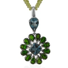 Emma Chapman Blue Topaz Chrome Diopside Sterling Silver Pendant