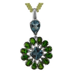 Emma Chapman Blue Topaz Chrome Diopside Sterling Silver Statement Pendant