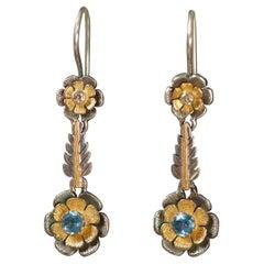 Emma Chapman Blue Topaz Diamond 18 Karat Gold Drop Earrings