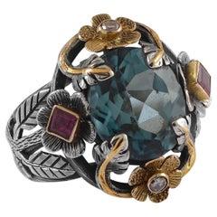 Emma Chapman Blue Topaz Ruby Diamond 18 Karat Gold Silver Cocktail Ring