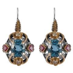Emma Chapman Blue Topaz Ruby Diamond 18 Karat Gold Silver Earrings