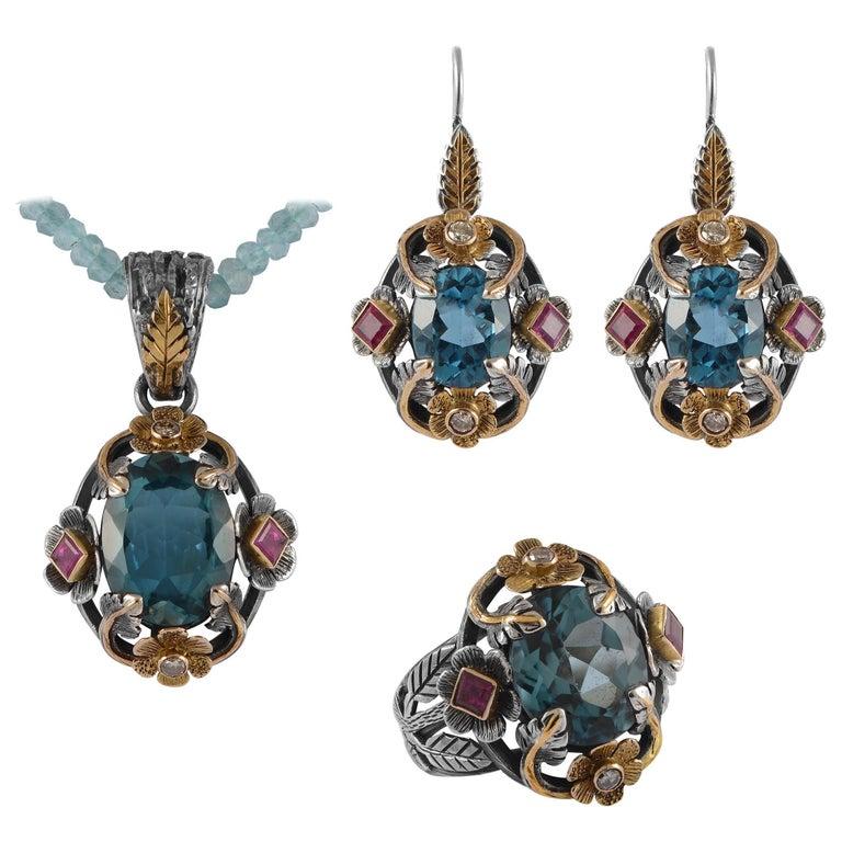 Emma Chapman Blue Topaz Ruby Diamond 18 Karat Silver Pendant Earring Ring Suite For Sale