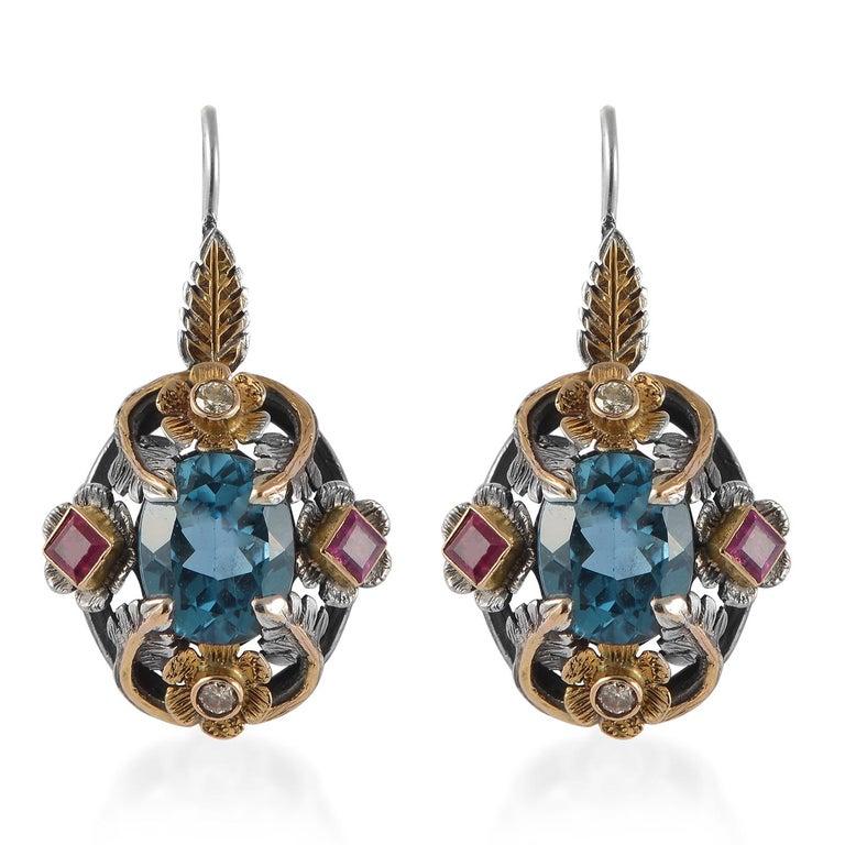 Contemporary Emma Chapman Blue Topaz Ruby Diamond 18 Karat Silver Pendant Earring Ring Suite For Sale
