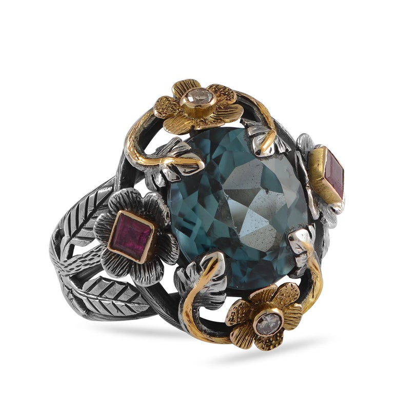 Emma Chapman Blue Topaz Ruby Diamond 18 Karat Silver Pendant Earring Ring Suite In New Condition For Sale In Frome, GB