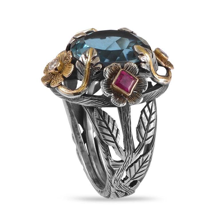 Women's Emma Chapman Blue Topaz Ruby Diamond 18 Karat Silver Pendant Earring Ring Suite For Sale