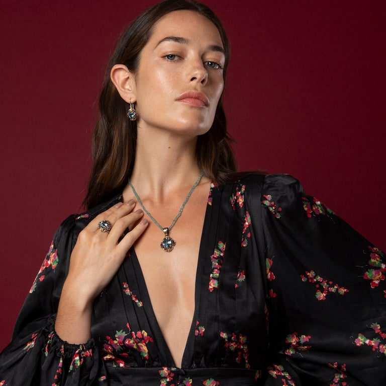 Emma Chapman Blue Topaz Ruby Diamond 18 Karat Silver Pendant Earring Ring Suite For Sale 1