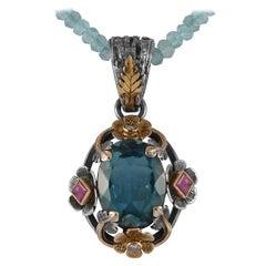 Emma Chapman Blue Topaz Ruby Diamond Pendant