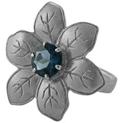 Emma Chapman Blue Topaz Silver Flower Cocktail Ring