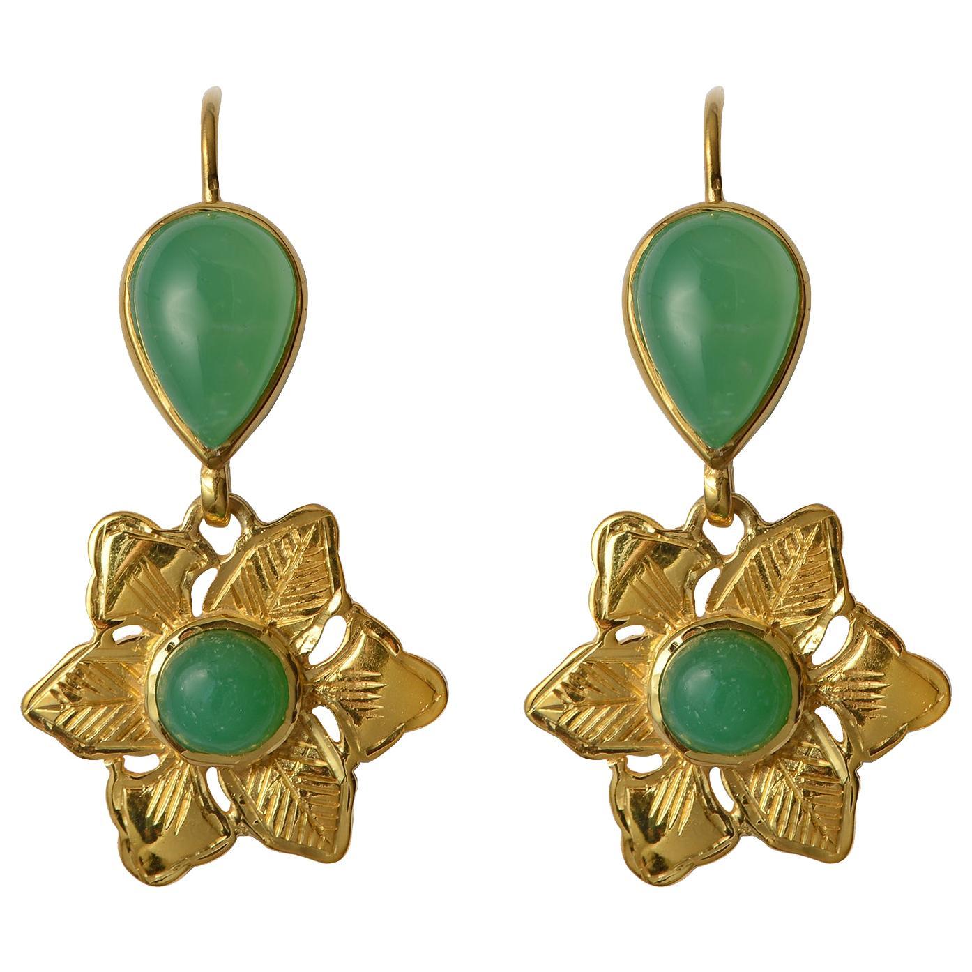 Emma Chapman Chrysoprase Gold Plate Dangle Flower Earrings