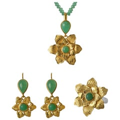 Emma Chapman Chrysoprase Gold Plate Flower Pendant Earring Ring Suite