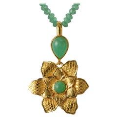 Emma Chapman Chrysoprase Gold Plate Flower Pendant