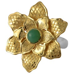 Emma Chapman Chrysoprase Gold Plate Statement Flower Ring