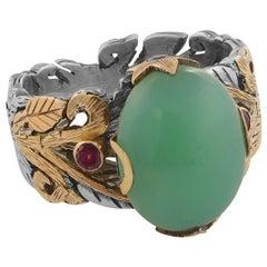 Emma Chapman Chrysoprase Ruby 18 Karat Gold Sterling Silver Cocktail Ring