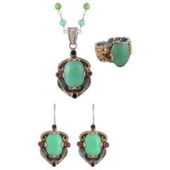 Emma Chapman Chrysoprase Ruby Blue Sapphire Pendant Earring Ring Suite
