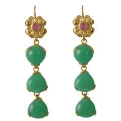 Emma Chapman Chrysoprase Tourmaline Drop Gold Plate Earrings