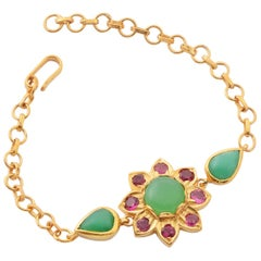 Emma Chapman Chrysoprase Tourmaline Gold Plate Bracelet