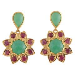 Emma Chapman Chrysoprase Tourmaline Gold Plate Drop Earrings