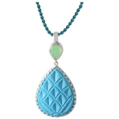Emma Chapman Chrysoprase Turquoise Silver Carved Pendant