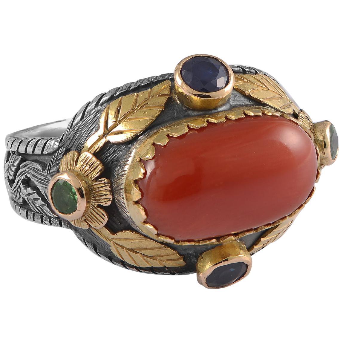 Emma Chapman Coral Sapphire Tsavorite 18kt Gold Silver Cocktail Ring