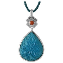 Emma Chapman Coral Turquoise Carved Silver Pendant