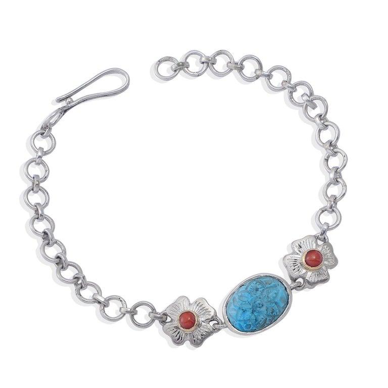 Artisan Emma Chapman Coral Turquoise Silver Bracelet For Sale
