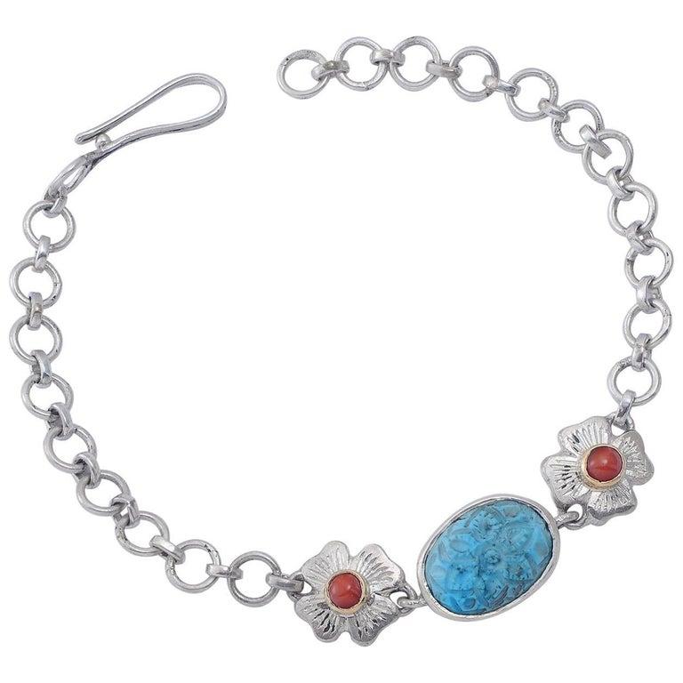 Emma Chapman Coral Turquoise Silver Bracelet For Sale