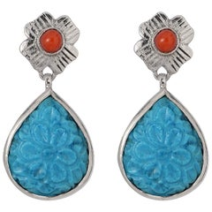 Emma Chapman Coral Turquoise Silver Carved Earrings