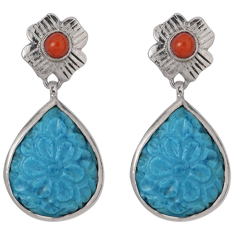 47d470d29 Emma Chapman Coral Turquoise Silver Earrings For Sale at 1stdibs