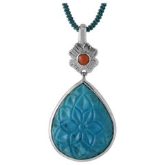 Emma Chapman Coral Turquoise Silver Pendant