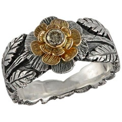 Emma Chapman Diamond 18kt Yellow Gold Silver Flower Ring