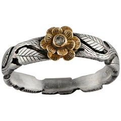 Emma Chapman Diamond 18 Karat Gold Silver Flower Ring