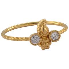 Emma Chapman Diamond 18 Karat Yellow Gold Embossed Stacking Ring