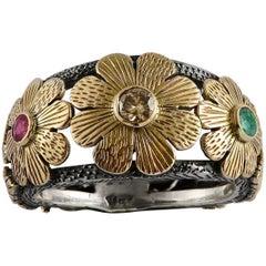 Emma Chapman Diamond Ruby Emerald 18 Karat Yellow Gold Silver Ring