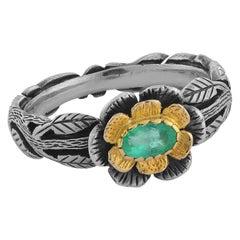 Emma Chapman Emerald 18kt Gold Silver Flower Ring