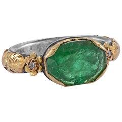 Emma Chapman Emerald Diamond 18 Karat Gold Dress Ring