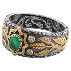 Emma Chapman Emerald Diamond 18 Karat Gold Silver Ring