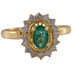 Emma Chapman Emerald Diamond 18kt Yellow Gold Cluster Ring