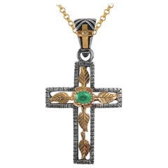 Emma Chapman Emerald Diamond 18kt Gold Silver Cross Pendant