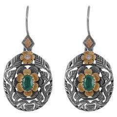 Emma Chapman Emerald Diamond 18 Karat Gold Silver Dangle Earrings