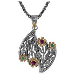 Emma Chapman Emerald Pink Tourmaline 18 Karat Yellow Gold Silver Flower Pendant