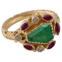 Emma Chapman Emerald Ruby Diamond 18k Gold Ring