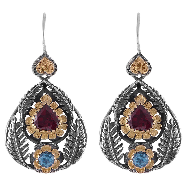 Emma Chapman Garnet Blue Topaz 18 Karat Gold Silver Dangle Earrings