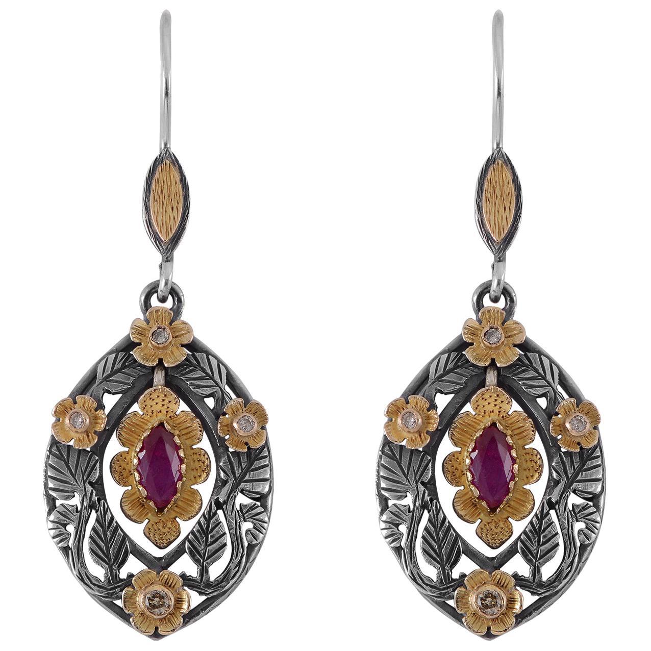 Emma Chapman Garnet Diamond 18 Karat Gold Silver Dangle Earrings