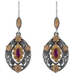 Emma Chapman Garnet Diamond 18 Karat Gold Silver Drop Earrings