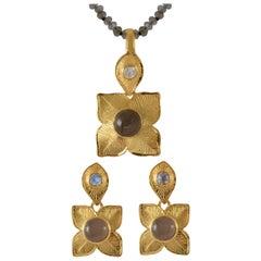 Emma Chapman Gold Plate Moonstone Pendant Earring Suite